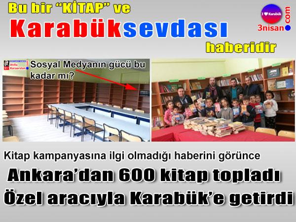 Ankara'dan Eskipazar'a 600 kitap getirdi
